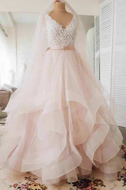 Light Pink V-neck Sleeveless Sweep Train Lace Top Tulle Wedding Dress with Sash,N597