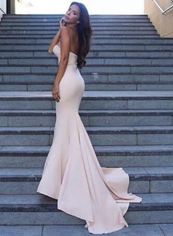 Strapless Mermaid Prom Dress,Custom Long Evening Dresses,Sweetheart Formal Dresses N48
