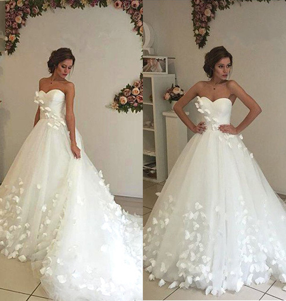 Gorgeous Sweetheart Ball Gown Wedding Dress With Appliques Beach Wedding Gown N1787 Simibridaldresses
