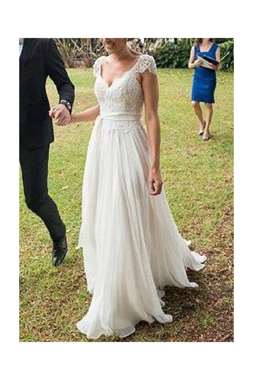 V-neck A-line Cap Sleeves Lace Ivory Chiffon Beach Wedding Dress,N09