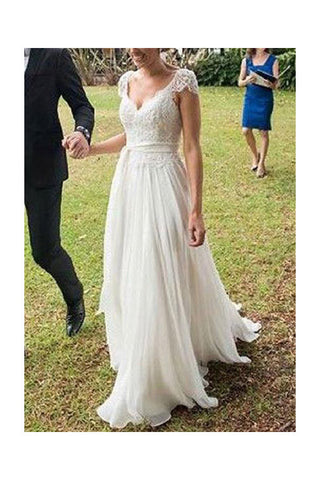 e4678e2e09761 V-neck A-line Cap Sleeves Lace Ivory Chiffon Beach Wedding Dress –  Simibridaldress