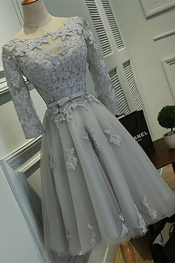 Grey A-line Bateau Knee-length Lace Appliques Tulle Homecoming Dress with Belt,N382