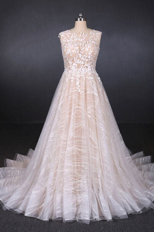 Champagne Puffy Sleeveless Lace Wedding Dresses, Elegant A Line Backless Bridal Dresses N2296