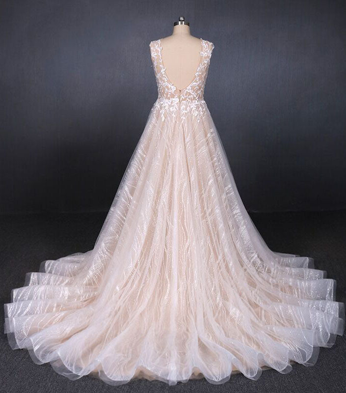 Puffy Sleeveless Lace Wedding Dresses, Elegant A Line Backless Bridal Dresses N2296