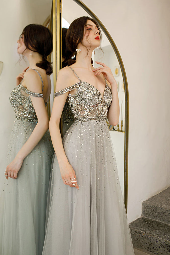 Light Gray Straps Floor Length Tulle Prom Gowns, A Line Long Party Dress N2662