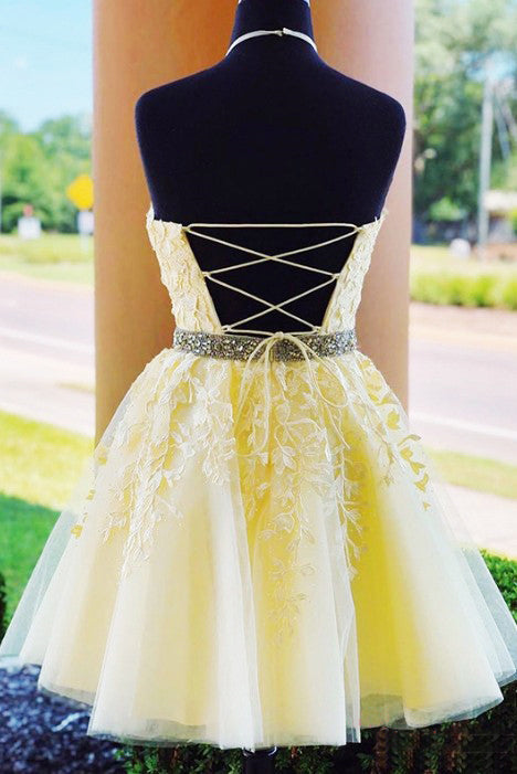A Line Halter Sleeveless Homecoming Dress with Beads, Appliqued Short Formal Dress N2167
