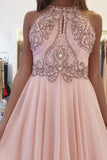 Blush Pink Chiffon Prom Dress with Beading Rhinstone, Flowy Backless Graduation Dress N1745