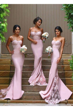 Gorgeous Spaghetti Straps Mermaid Backless Long Bridesmaid Dress N20