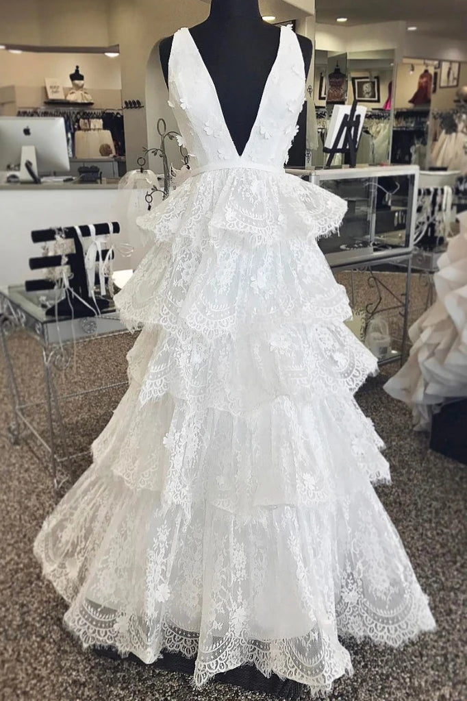 A Line Deep V Neck Layers Lace Wedding Dresses, Romantic Sleeveless Bridal Dresses N2652
