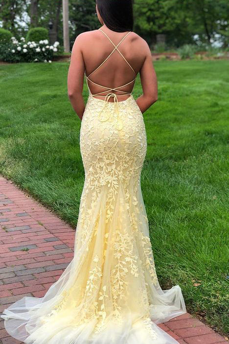 Yellow Spaghetti Strap Mermaid Lace Appliqued Long Prom Dress, Sweep Train Evening Dress N2646