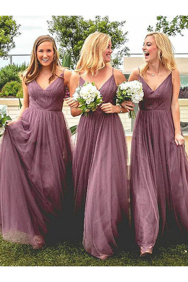 Spaghetti Straps V Neck Floor Length Bridesmaid Dress with Pleats, A Line Bridesmaid Dress N2384