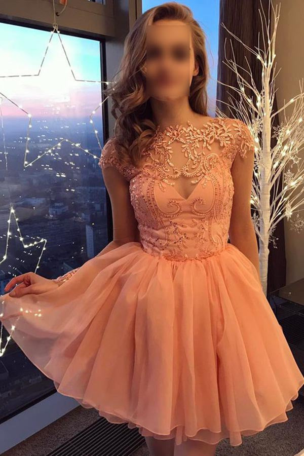 Peach Cap Sleeves Short Chiffon Homecoming Dress with Appliques, A Line Short Prom Dress