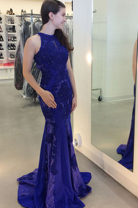 Gorgeous Jewel Beading Mermaid Prom Dress, Trumpet Sleeveless Sweep Train Evening Dress N871