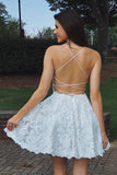 A Line Spaghetti Straps Backless Lace Short Homecoming Dresses, Formal Short Prom Dresses N1069