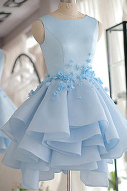 Sky Blue Homecoming Dress,A-line Satin Organza Short Flowers Original Prom Dresses,Mini Dress,N131