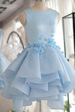 Sky Blue Homecoming Dress,A-line Satin Tulle Short Flowers Original Prom Dresses,Mini Dress,N131