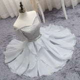 Silver Off-the-shoulder Homecoming Dress Half Sleeve Short Prom Dress Party Dress with Band,N241