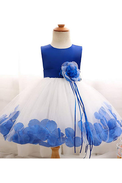 White and Blue Ball Gown Sleeveless Long Flower Girl Dress with Blue Flowers Sash F065
