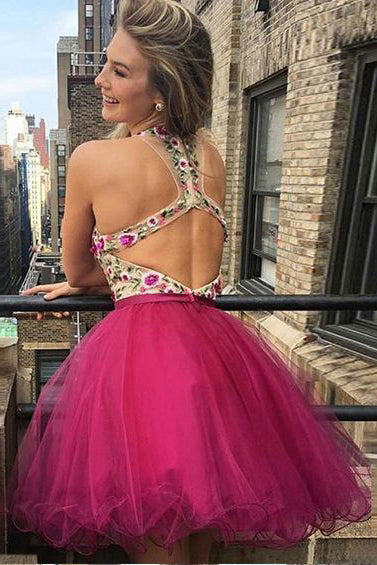 Mini Deep V Neck Sleeveless Tulle Homecoming Dress with Appliques, Short Prom Dress N865