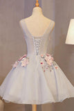 Silver Gray Sleeveless Appliqued Short Homecoming Dress with Flowers, Mini Prom Dress N899
