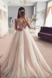Charming Spaghetti Straps Sweetheart Tulle Prom Dress with Beading, Wedding Dresses N2472