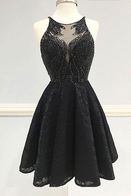 Fashion A-Line Black Lace Short Homecoming Dress,Backless Lace Beading Prom Dresses,N267
