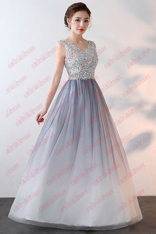 Gradient V Neck Sleeveless Floor Length Prom Dress with Silver ...