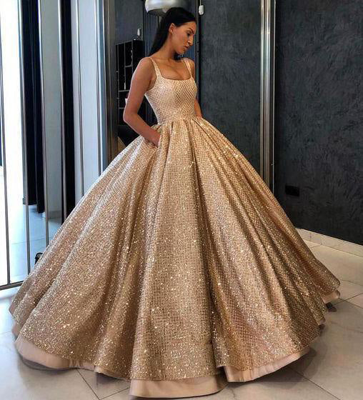 Gold Ball Gown Sequined Prom Dress with Pockets, Long Square Quinceanera Dresses N1285