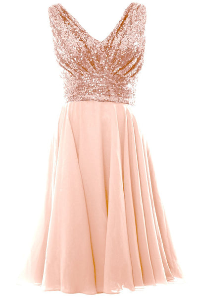 Soft Pink V Neck Sleeveless Chiffon Short Bridesmaid Dress with Rose Gold Sequins,Short Prom Dresses