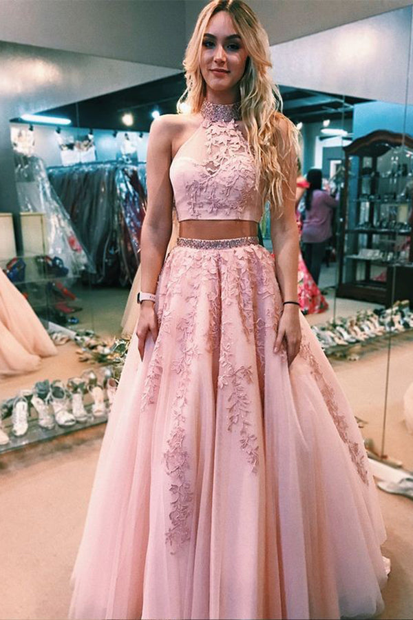 Two Piece Pink High Neck A Line Tulle Appliqued Prom Dress with Beading