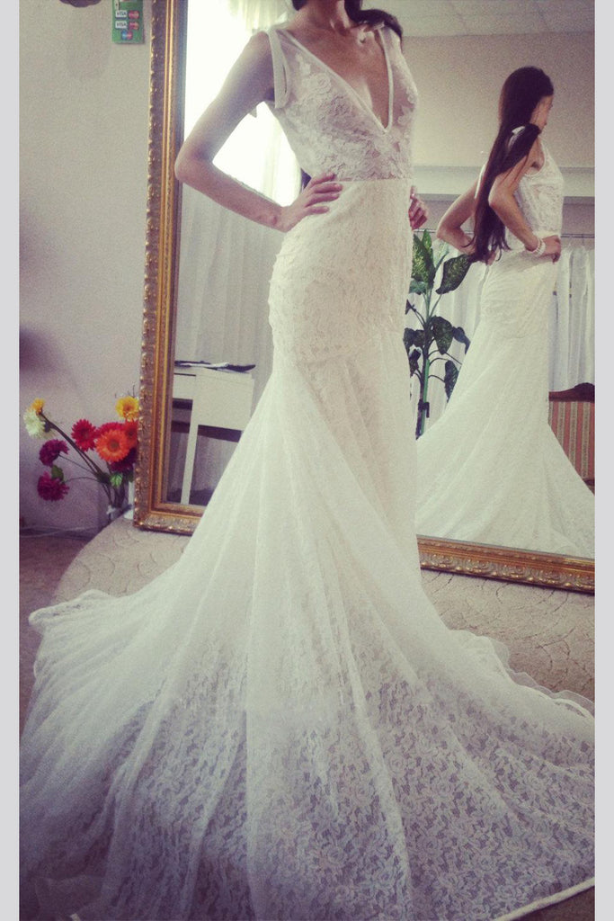 Deep V Neck Sleeveless Mermaid Lace Wedding Gown With Deep V Back, Long Lace Bridal Dress N1088