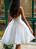 Ball Gown Prom Dress,Ivory Knee-length Homecoming Dress with Flowers,Appliqued Prom Gown,N221