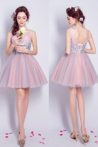 Sequined V-neck Tulle Homecoming Dress Sexy Shining Short Prom Dress Party Dress,Mini Dress,N250