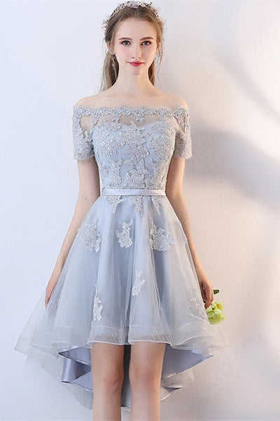 A Line Off the Shoulder Applique High Low Tulle Homecoming Dress, Graduation Dress N1949