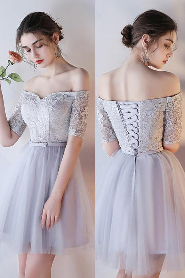 Off-shoulder Homecoming Dress Half Sleeve Lace Tulle Short Prom Dress Graduation Dress