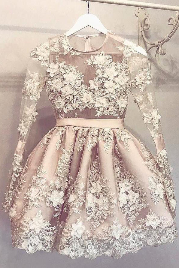 Cute Long Sleeve Homecoming Dress Hand-Made Flower Short Prom Dress Party Dress,N289