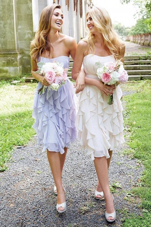 Empire Strapless Chiffon with Ruffles Knee-length Short Bridesmaid Dresses N1313