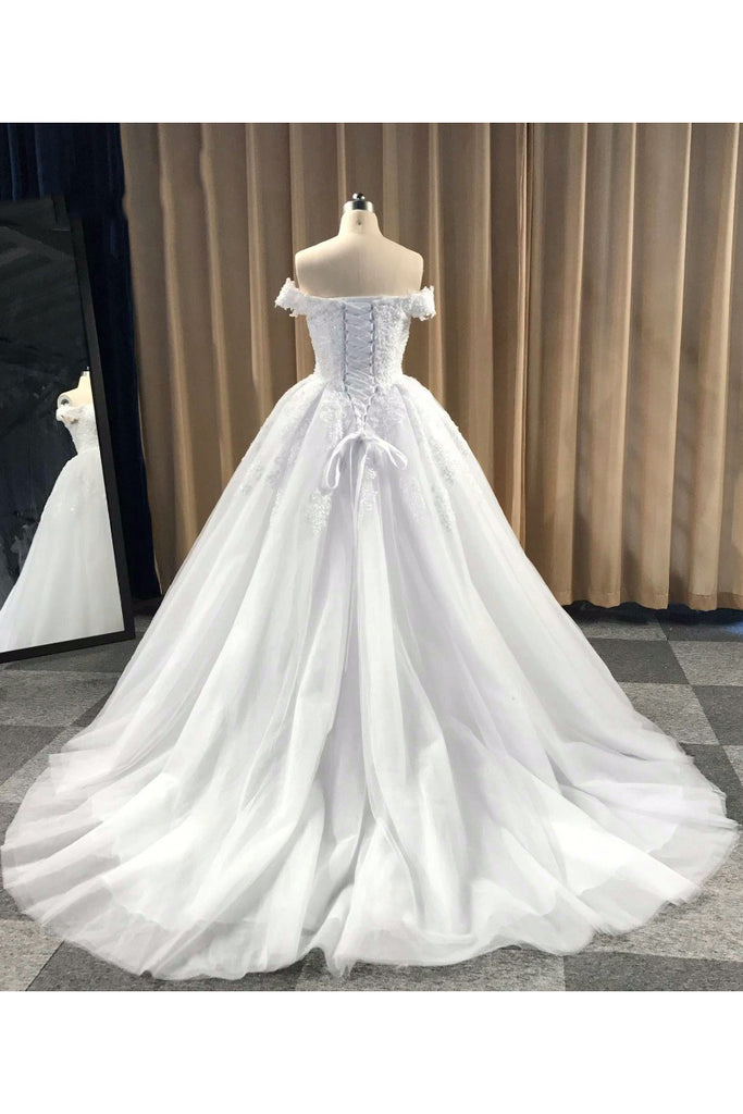 Puffy Off Shoulder Tulle Wedding Dress, Cheap Appliqued Bridal Dress with Train N1173