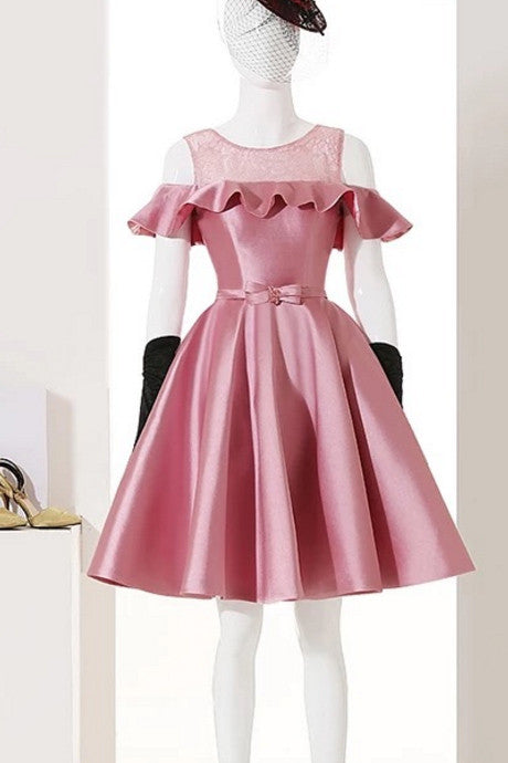 Dusty Rose Homecoming Dresses 2017,Short Prom Dresses,Satin Cocktail Dress With Belt,Graduation Dress,Party Dress,Short Homecoming Dress,N151