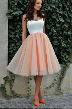 Knee Length Sweetheart Straps Tulle Homecoming Dress,Cheap Short Prom Dress,N263