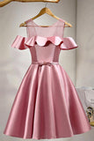 Dusty Rose Homecoming Dresses ,Short Prom Dresses,Satin Cocktail Dress,Short Party Dress,N151