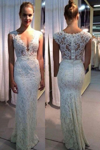 V-neck Wedding Dress,Mermaid Wedding Gown,Lace Sleeveless Wedding Dresses,Ivory Sexy Beach Wedding Dresses,N144