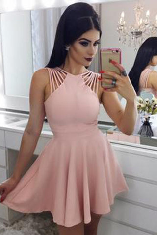 Elegant A Line Satin Mini Homecoming Dress,Cocktail Dresses Short Ruched Prom Dress,N224