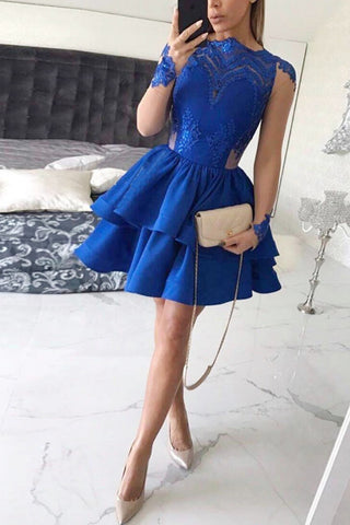 Tiered Long Sleeves Royal Blue Satin Homecoming Dress with Appliques,Mini Prom Dress,N306