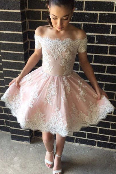 Pink Homecoming Dress,Off-the-shoulder Short Prom Dresses,Lace Short Graduation Dresses,Lace Tulle Prom Dress,N154