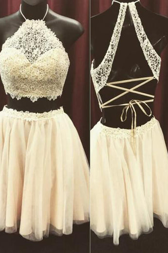 Beige Two Pieces Lace Top High Neck Graduation Dress,Homecoming Dress for Teens,N278