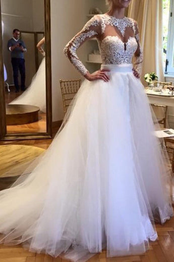 White Tulle Wedding Dresses,Crew Neck Sheer Long Sleeve Lace Accents Bridal Gowns,Beach Wedding Dress,Graduation Dresses,Wedding Guest Prom Gowns,Formal Occasion Dresses,N155