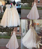 Custom-made Lace Appliques Tulle Long Wedding Dress,Strapless Prom Evening Dresses,N246