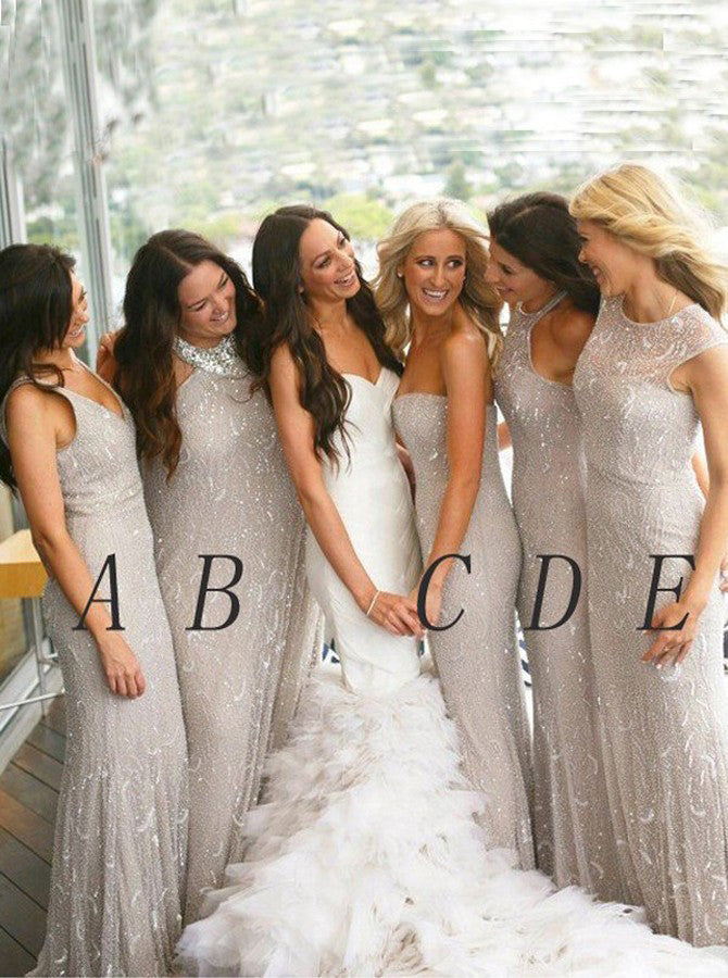 Light Gray New Arrival Bridesmaid Dress,Mermaid Bridesmaid Gowns,Sleeveless Wedding Party Dress,N141