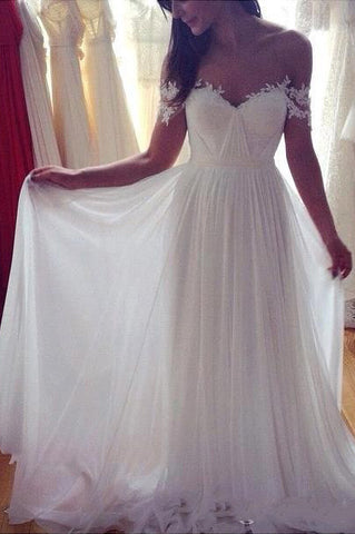 Simple A-Line Off-shoulder Long Appliques Wedding Dresses,Ivory Beach Wedding Dresses,N231